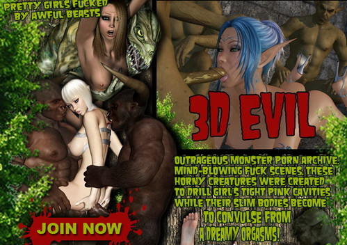 Sex with horny creatures - 3D Evil comics